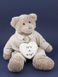 Menino do urso da peluche com um coração Imagem de Stock Royalty Free