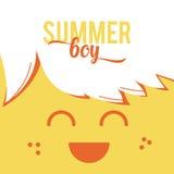 Menino do verão da ilustração com texto do estilo Imagens de Stock Royalty Free