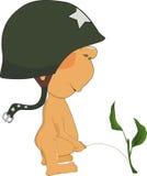 Menino do xixi em um capacete de encontro à guerra ilustração do vetor