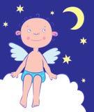Menino dos anjos na noite sob a lua. Fotografia de Stock