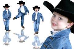 Menino dos anos de idade da colagem quatro do cowboy imagem de stock royalty free