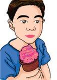 Menino dos desenhos animados com gelado Imagens de Stock Royalty Free