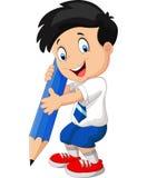 Menino dos desenhos animados com lápis Fotos de Stock Royalty Free
