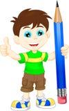 Menino dos desenhos animados com lápis Imagens de Stock Royalty Free