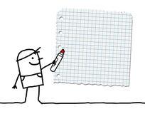 Menino dos desenhos animados com marcador e papel de escola vazio Fotos de Stock Royalty Free