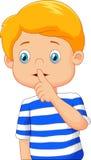 Menino dos desenhos animados com o dedo sobre sua boca Foto de Stock Royalty Free