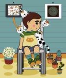 Menino dos desenhos animados com o gato na casa Fotografia de Stock Royalty Free
