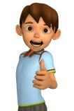 Menino dos desenhos animados com polegares acima Fotografia de Stock Royalty Free