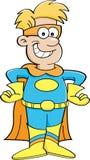 Menino dos desenhos animados em um traje do super-herói ilustração royalty free