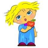Menino dos desenhos animados que come frutas Fotos de Stock Royalty Free