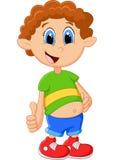 Menino dos desenhos animados que dá o polegar acima Foto de Stock