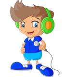 Menino dos desenhos animados que guarda o microfone Imagem de Stock