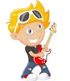 Menino dos desenhos animados que joga a guitarra Imagem de Stock Royalty Free