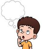 Menino dos desenhos animados que pensa com bolha branca