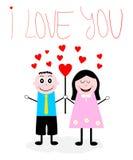 Menino dos desenhos animados uma menina no amor Imagem de Stock