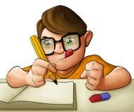 Menino dos jovens dos trabalhos de casa ilustração stock