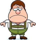 Menino dos Lederhosen dos desenhos animados triste Imagens de Stock Royalty Free