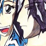 Menino dos pares dos desenhos animados do manga do Anime e menina de sorriso Imagem de Stock
