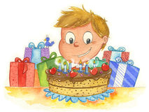 Menino e bolo de aniversário ilustração stock