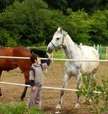 Menino e cavalo Imagens de Stock