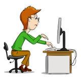 Menino e computador engraçados dos desenhos animados Fotos de Stock