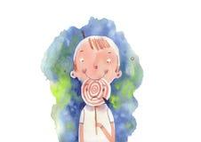Menino e doces da aquarela Imagem de Stock Royalty Free