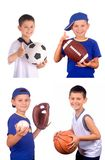 Menino e esferas dos esportes Fotos de Stock Royalty Free