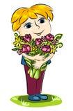 Menino e flores. Fotografia de Stock Royalty Free
