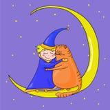 Menino e gato na lua ilustração royalty free