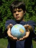 Menino e globo #2 Imagens de Stock