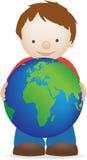 Menino e globo Imagens de Stock Royalty Free