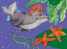 Menino e golfinho a jogar ilustração royalty free