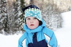 Menino e inverno Foto de Stock Royalty Free
