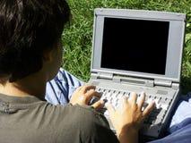 Menino e laptop#2 imagem de stock