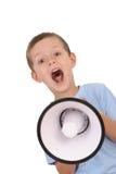 Menino e megafone Fotografia de Stock Royalty Free