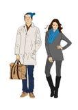 Menino e menina à moda Imagens de Stock