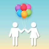 Menino e menina com balões Imagem de Stock Royalty Free
