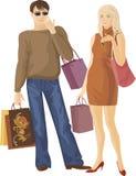 Menino e menina de compra Foto de Stock Royalty Free