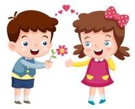 Menino e menina dos desenhos animados Imagens de Stock