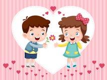 Menino e menina dos desenhos animados Imagem de Stock
