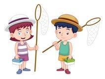 Menino e menina dos desenhos animados com rede do inseto Fotografia de Stock