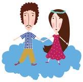 Menino e menina em uma nuvem Fotos de Stock Royalty Free