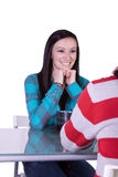 Menino e menina em uma tâmara Imagens de Stock