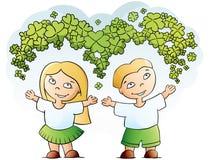 Menino e menina felizes Imagem de Stock Royalty Free