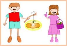 Menino e menina felizes de Dia das Bruxas com lanterna e doces da abóbora ilustração do vetor