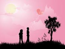 Menino e menina fora Ilustração do Vetor