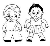 Menino e menina - miúdos - esboço Imagem de Stock Royalty Free