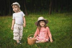 Menino e menina na floresta Fotos de Stock