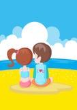 Menino e menina na praia Imagens de Stock