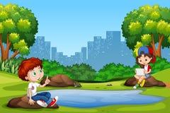 Menino e menina no parque ilustração do vetor